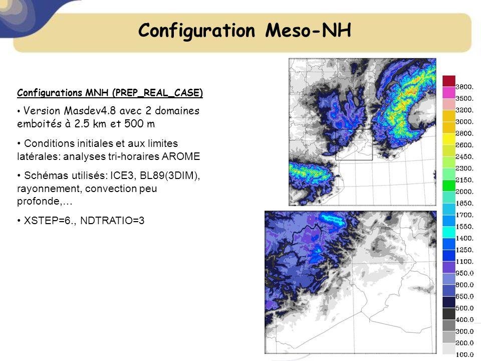 Configurations MNH (PREP_REAL_CASE) Version Masdev4.8 avec 2 domaines emboités à 2.5 km et 500 m Conditions initiales et aux limites latérales: analyses tri-horaires AROME Schémas utilisés: ICE3, BL89(3DIM), rayonnement, convection peu profonde,… XSTEP=6., NDTRATIO=3 Configuration Meso-NH