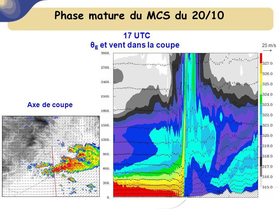 Phase mature du MCS du 20/10 θ E et vent dans la coupe 17 UTC 25 m/s (K) Axe de coupe