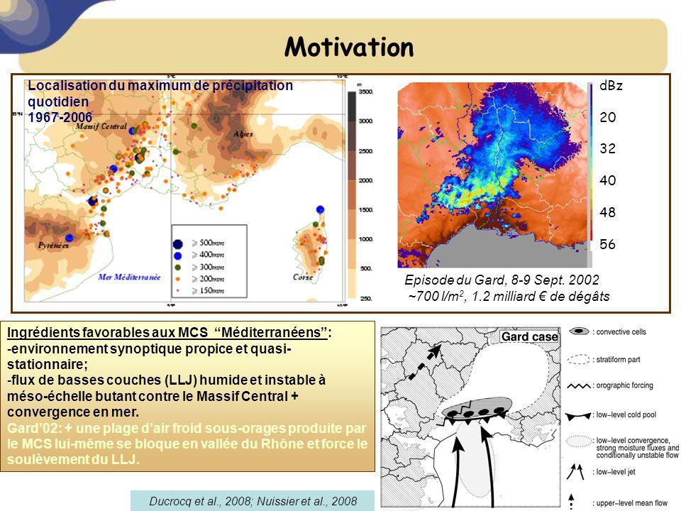 Motivation Ducrocq et al., 2008; Nuissier et al., 2008 Localisation du maximum de précipitation quotidien 1967-2006 dBz 20 32 40 48 56 Episode du Gard, 8-9 Sept.