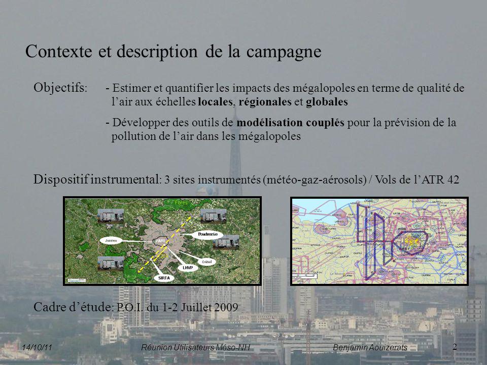 2 Contexte et description de la campagne Objectifs : - Estimer et quantifier les impacts des mégalopoles en terme de qualité de lair aux échelles loca