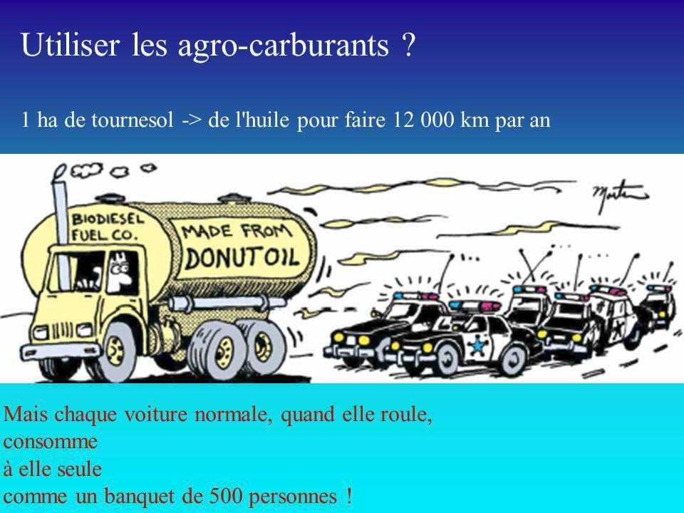 Utiliser les agro-carburants ? 1 ha de tournesol -> de l'huile pour faire 12 000 km par an Mais chaque voiture normale, quand elle roule, consomme à e