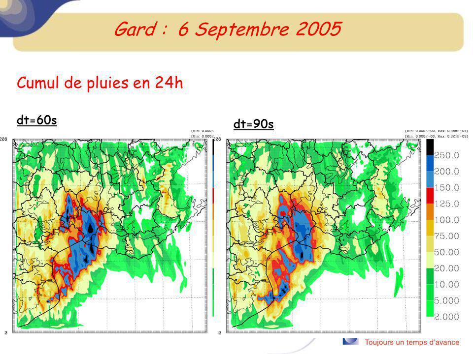 Cumul de pluies en 24h dt=60s Gard : 6 Septembre 2005 dt=90s