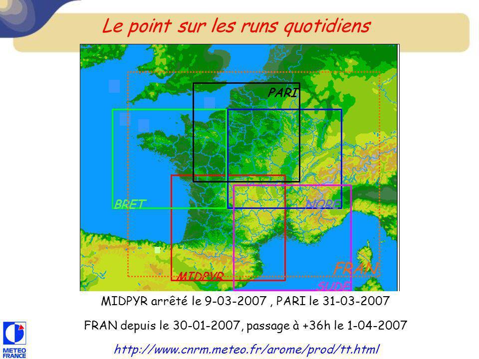3 MIDPYR SUDE NORE PARI BRET Le point sur les runs quotidiens MIDPYR arrêté le 9-03-2007, PARI le 31-03-2007 FRAN depuis le 30-01-2007, passage à +36h