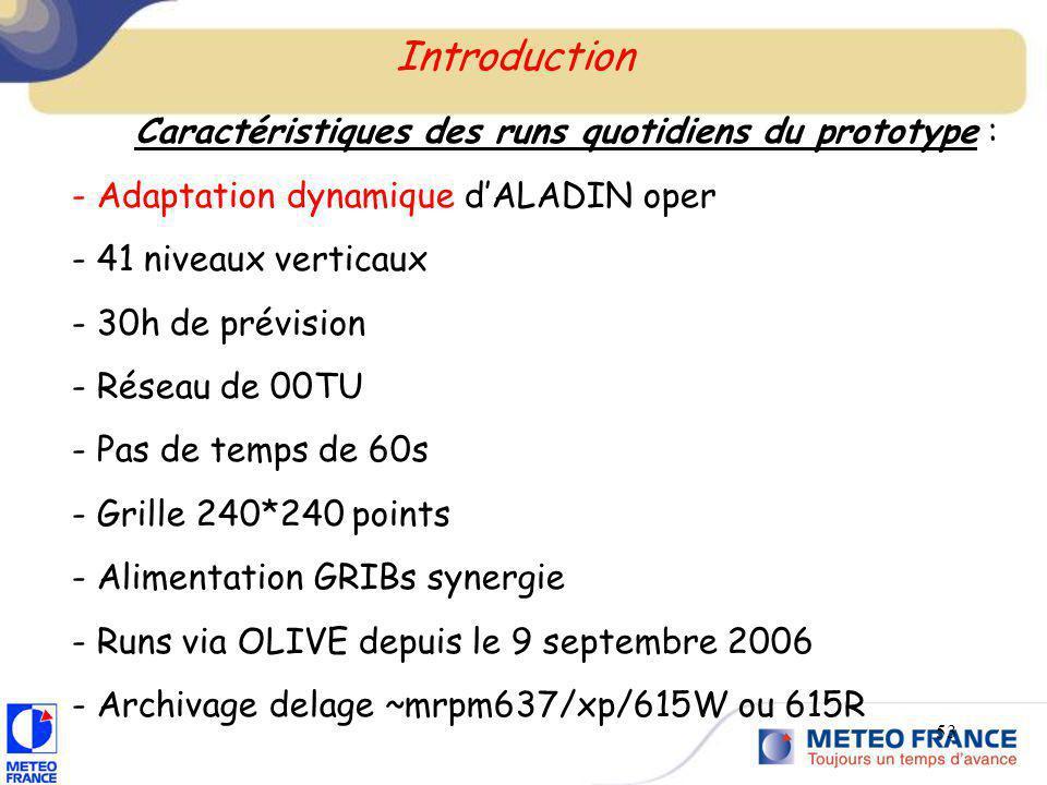 53 Introduction Caractéristiques des runs quotidiens du prototype : - Adaptation dynamique dALADIN oper - 41 niveaux verticaux - 30h de prévision - Ré