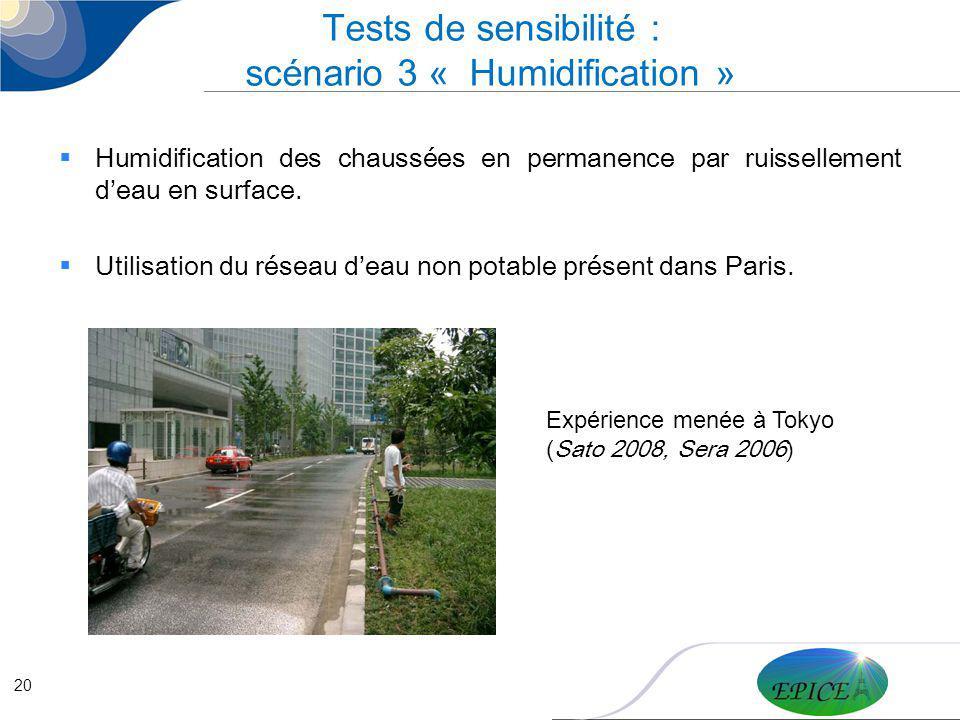 20 Tests de sensibilité : scénario 3 « Humidification » Humidification des chaussées en permanence par ruissellement deau en surface. Utilisation du r