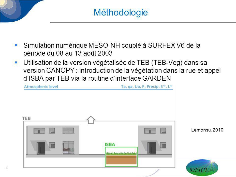 4 Méthodologie Simulation numérique MESO-NH couplé à SURFEX V6 de la période du 08 au 13 août 2003 Utilisation de la version végétalisée de TEB (TEB-V