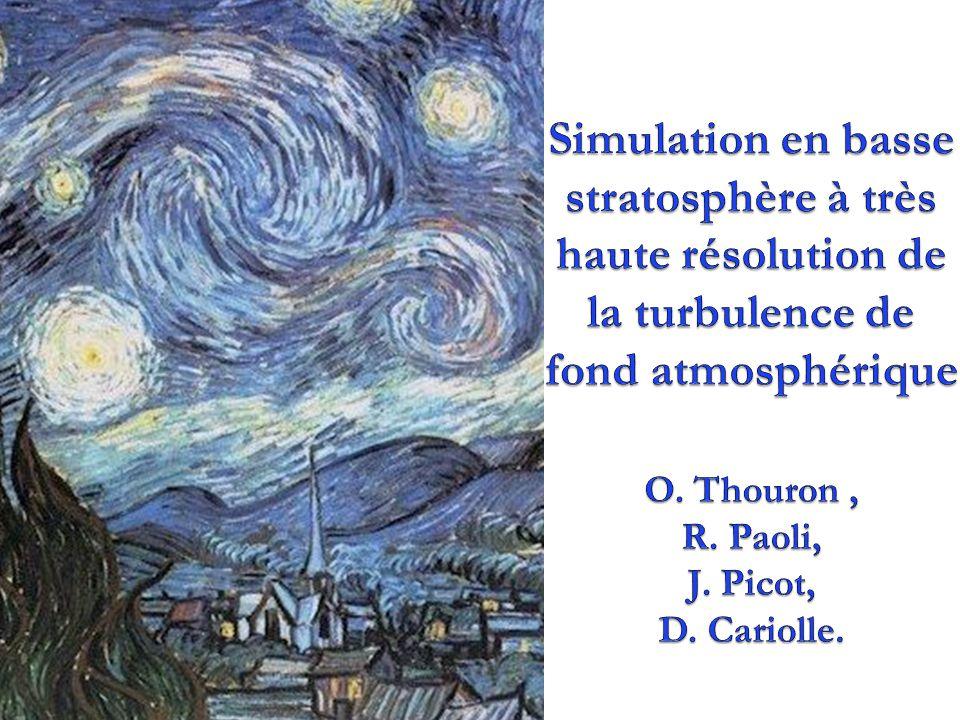 -5/3 2 composantes (u et v) du vent forcées Deux domaines de simulation de 10m3 avec une résolution de 10cm: sans stratification (SS) avec stratification (AS) N=0.013s -1 (u,v,w) EkEk Spectre de E k