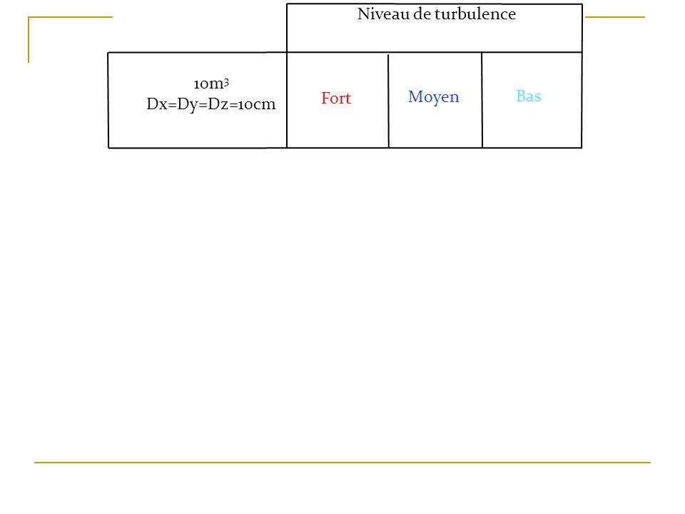 Niveau de turbulence Moyen Fort Bas 10m 3 Dx=Dy=Dz=10cm