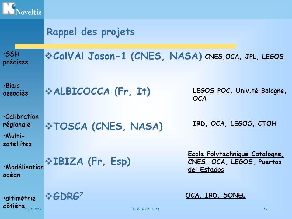 2004/10/12NOV- 5034-SL-1112 Rappel des projets SSH précises Biais associés Calibration régionale Multi- satellites Modélisation océan altimétrie côtiè