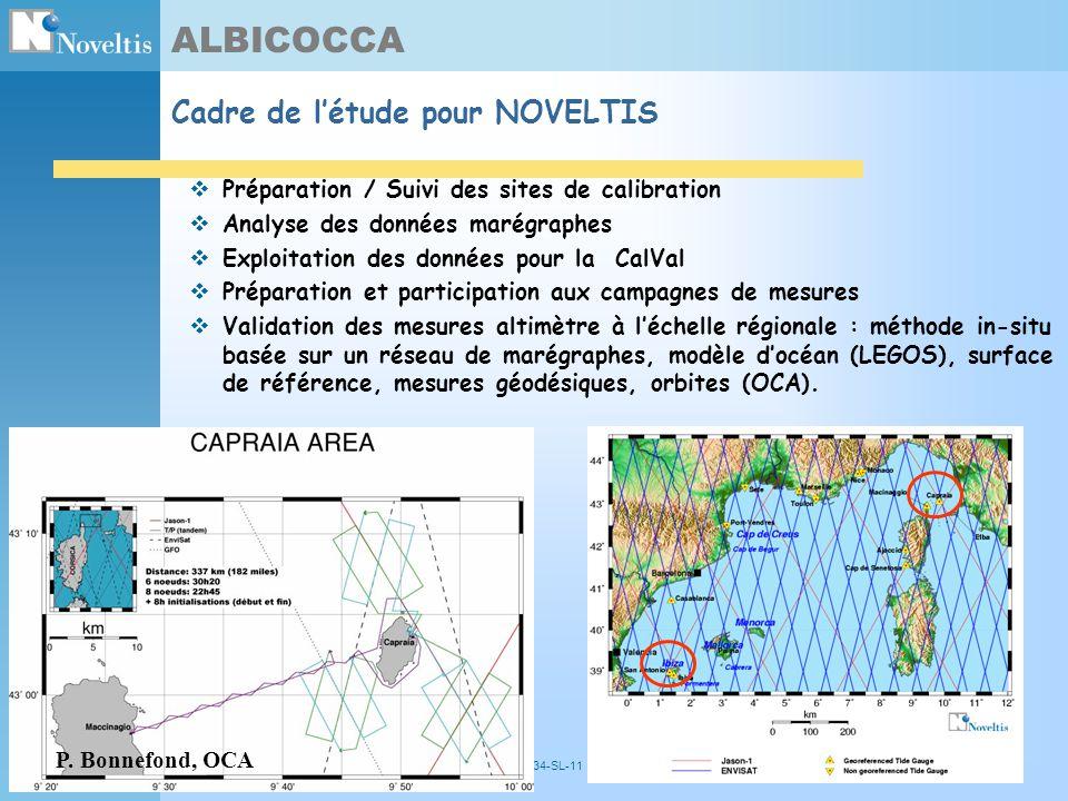 2004/10/12NOV- 5034-SL-1115 ALBICOCCA Cadre de létude pour NOVELTIS Préparation / Suivi des sites de calibration Analyse des données marégraphes Explo