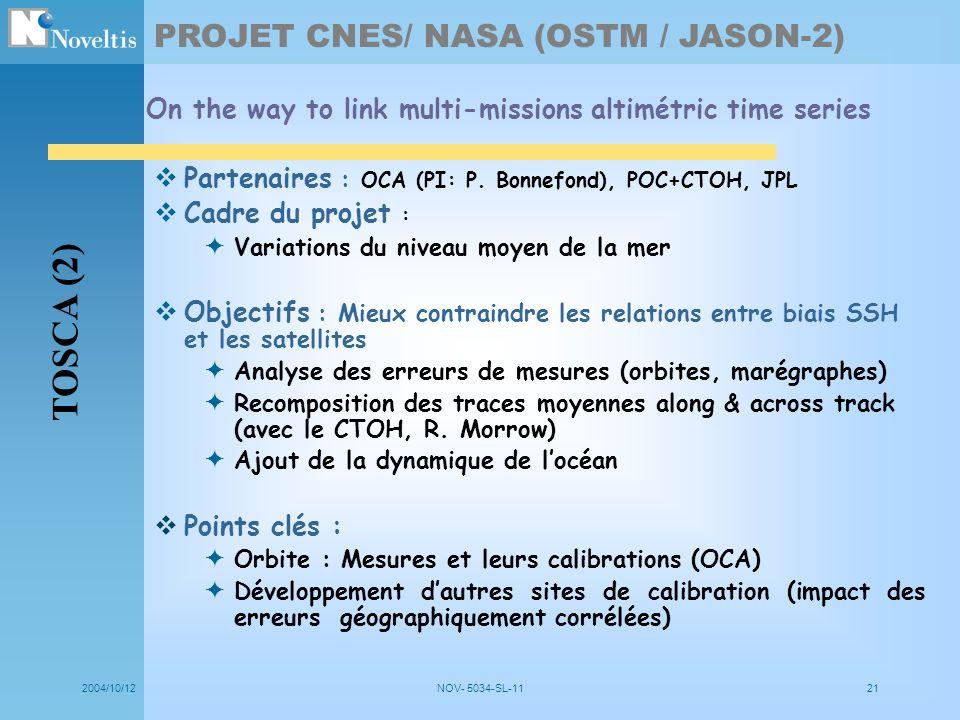 2004/10/12NOV- 5034-SL-1121 Partenaires : OCA (PI: P. Bonnefond), POC+CTOH, JPL Cadre du projet : Variations du niveau moyen de la mer Objectifs : Mie