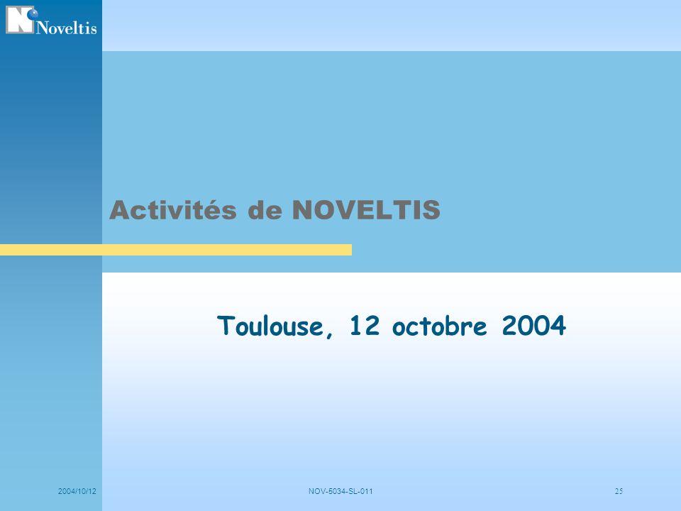 2004/10/12NOV-5034-SL-011 25 Toulouse, 12 octobre 2004 Activités de NOVELTIS