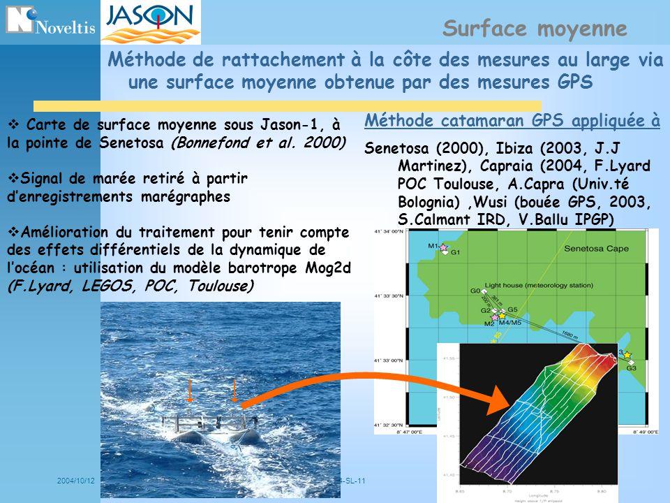 2004/10/12NOV- 5034-SL-114 Méthode de rattachement à la côte des mesures au large via une surface moyenne obtenue par des mesures GPS Surface moyenne