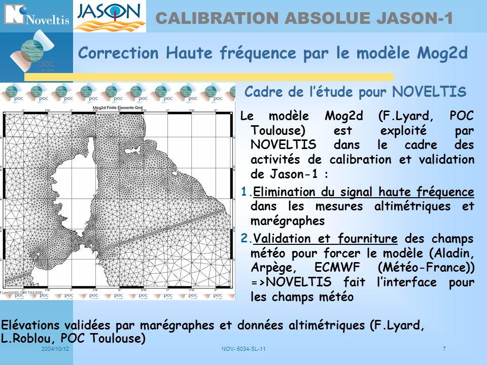 2004/10/12NOV- 5034-SL-117 Correction Haute fréquence par le modèle Mog2d Calibration zone Elévations validées par marégraphes et données altimétrique