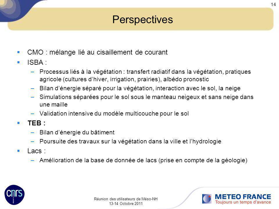 Réunion des utilisateurs de Méso-NH 13-14 Octobre 2011 14 Perspectives CMO : mélange lié au cisaillement de courant ISBA : –Processus liés à la végéta