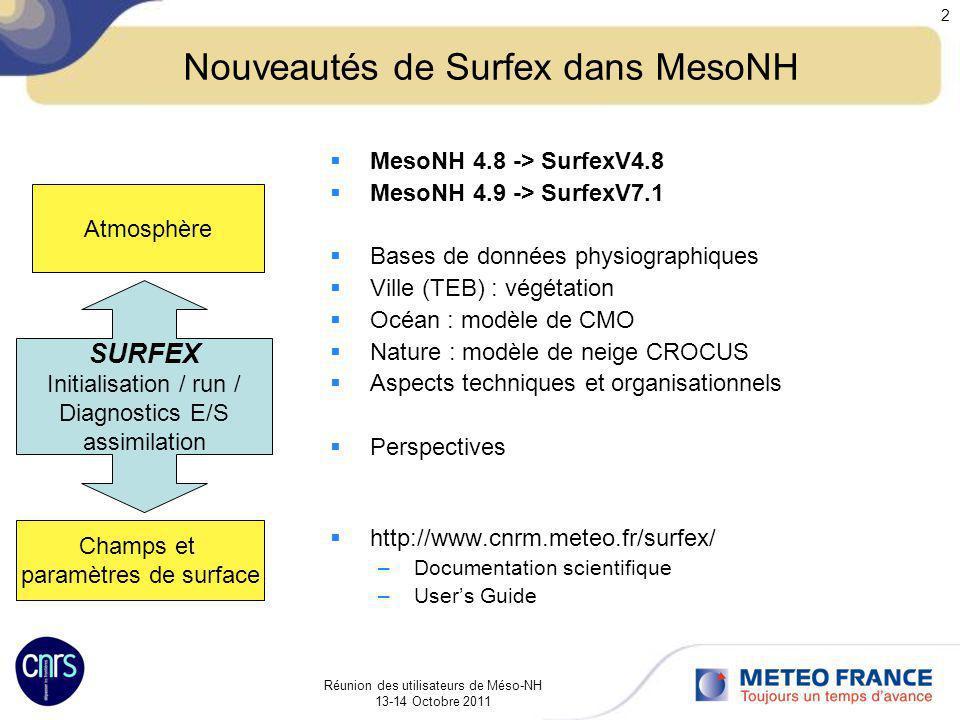 Réunion des utilisateurs de Méso-NH 13-14 Octobre 2011 2 Nouveautés de Surfex dans MesoNH MesoNH 4.8 -> SurfexV4.8 MesoNH 4.9 -> SurfexV7.1 Bases de d