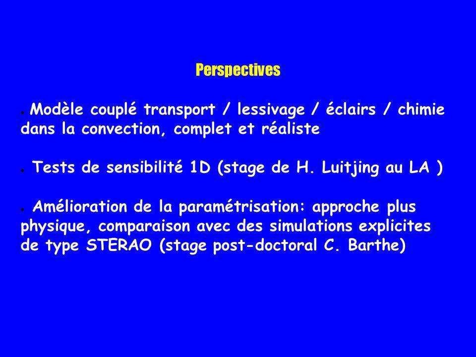 Perspectives Modèle couplé transport / lessivage / éclairs / chimie dans la convection, complet et réaliste Tests de sensibilité 1D (stage de H. Luitj