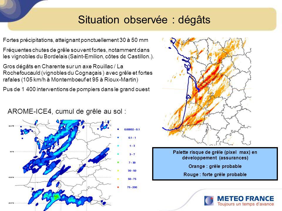 Situation observée : dégâts Fortes précipitations, atteignant ponctuellement 30 à 50 mm Fréquentes chutes de grêle souvent fortes, notamment dans les vignobles du Bordelais (Saint-Emilion, côtes de Castillon.).
