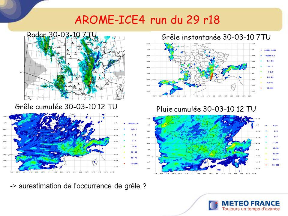 AROME-ICE4 run du 29 r18 Radar 30-03-10 7TU Grêle instantanée 30-03-10 7TU Grêle cumulée 30-03-10 12 TU Pluie cumulée 30-03-10 12 TU -> surestimation de loccurrence de grêle ?