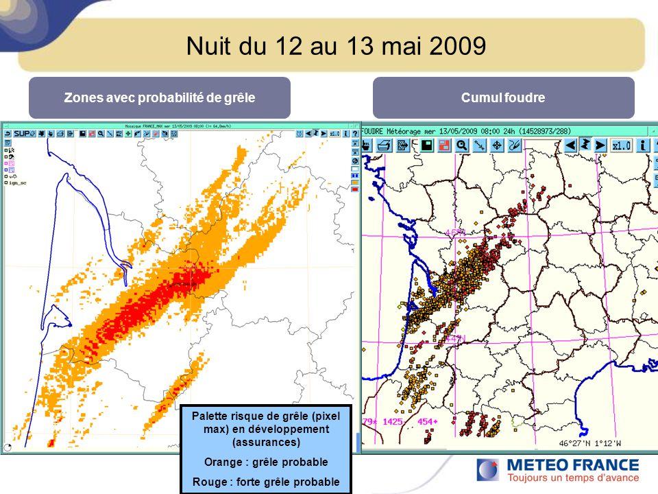 Nuit du 12 au 13 mai 2009 Zones avec probabilité de grêleCumul foudre Palette risque de grêle (pixel max) en développement (assurances) Orange : grêle probable Rouge : forte grêle probable