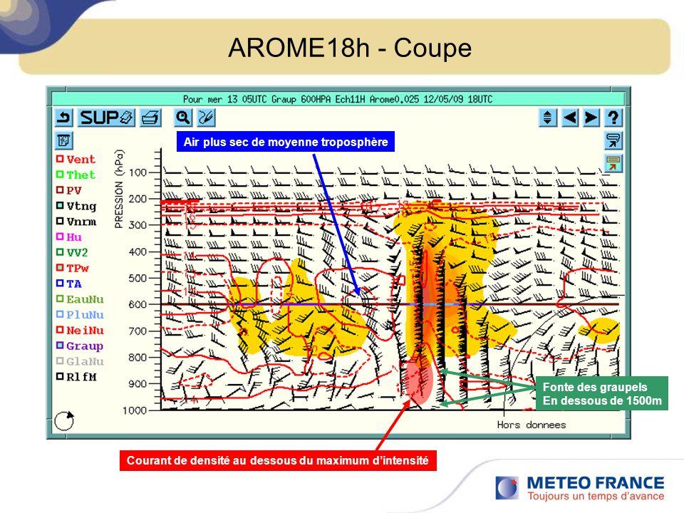 AROME18h - Coupe Courant de densité au dessous du maximum dintensité Air plus sec de moyenne troposphère Fonte des graupels En dessous de 1500m