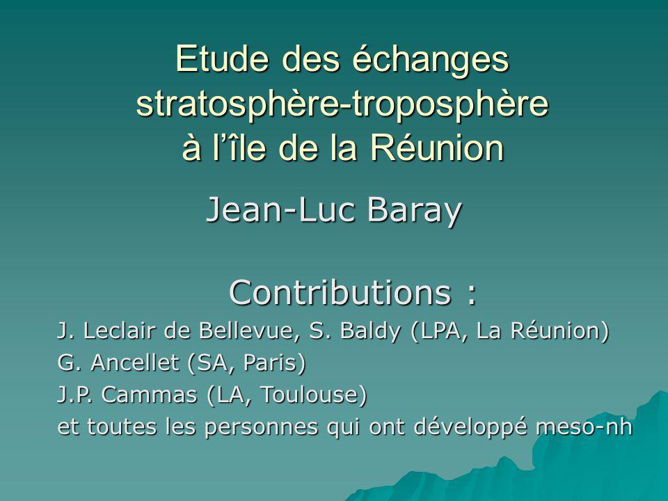 Etude des échanges stratosphère-troposphère à lîle de la Réunion Jean-Luc Baray Contributions : J. Leclair de Bellevue, S. Baldy (LPA, La Réunion) G.
