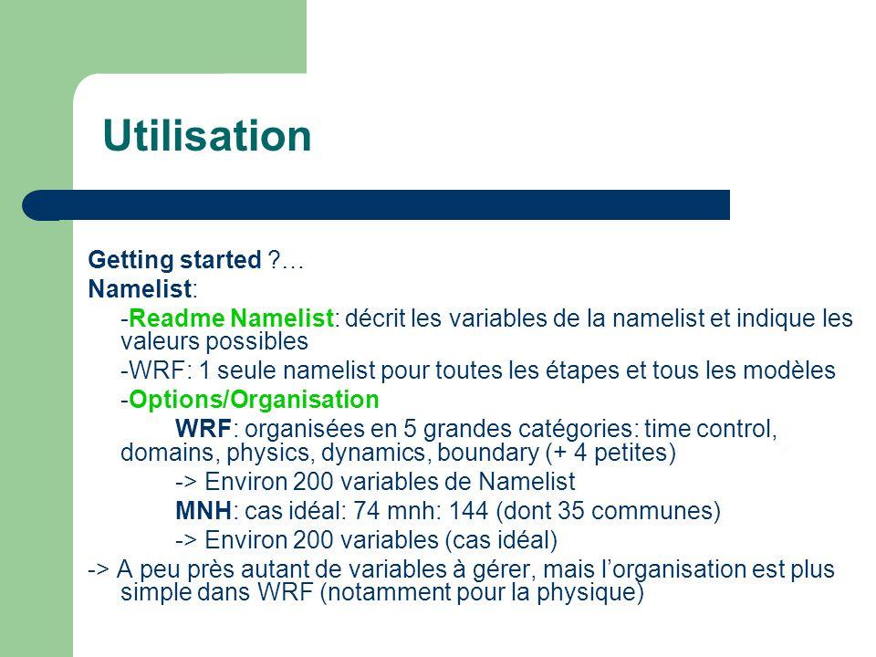 Utilisation Getting started ?… Namelist: -Readme Namelist: décrit les variables de la namelist et indique les valeurs possibles -WRF: 1 seule namelist