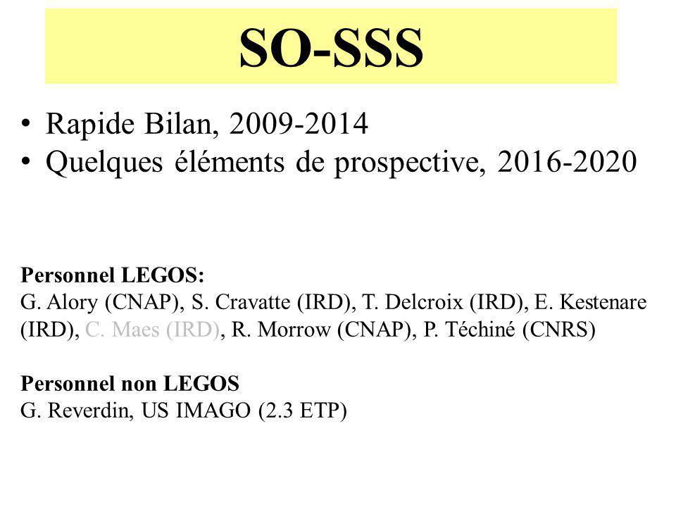 SO-SSS Rapide Bilan, 2009-2014 Quelques éléments de prospective, 2016-2020 Personnel LEGOS: G. Alory (CNAP), S. Cravatte (IRD), T. Delcroix (IRD), E.