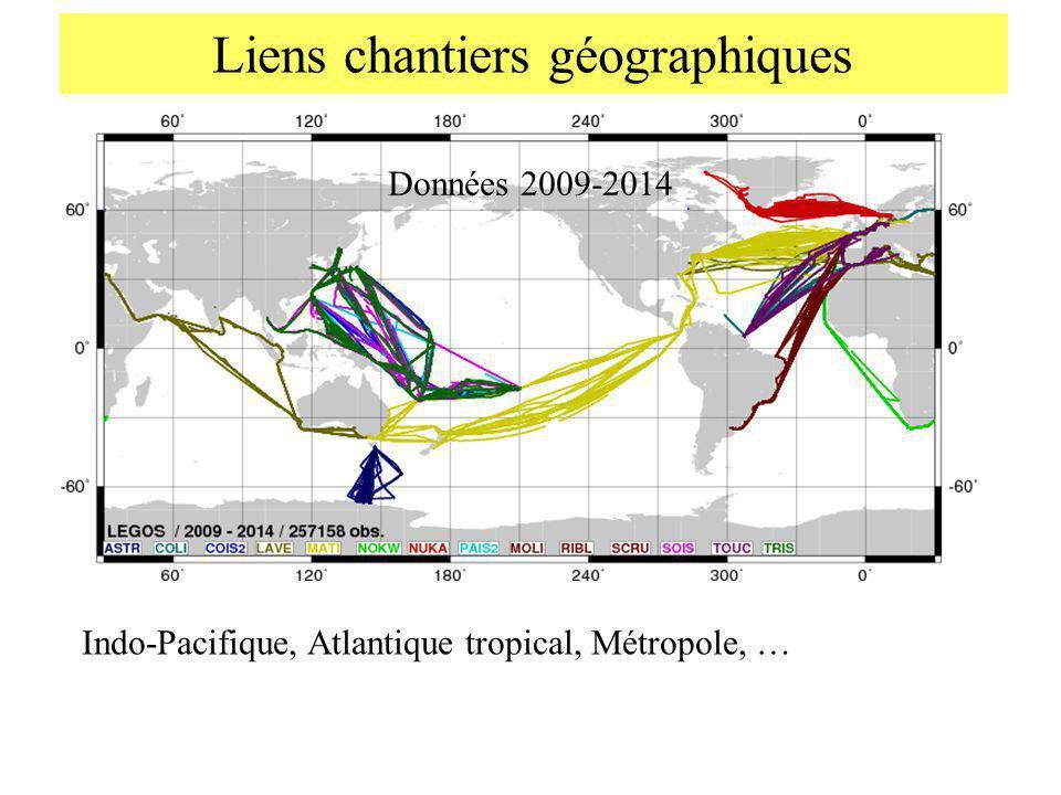 Liens chantiers géographiques Données 2009-2014 Indo-Pacifique, Atlantique tropical, Métropole, …