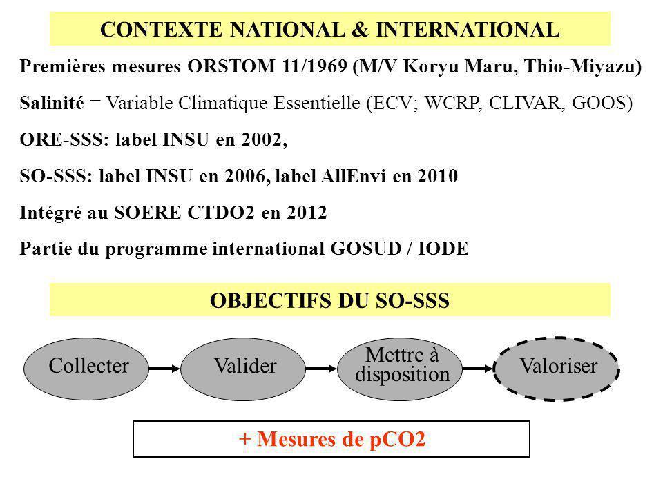 CONTEXTE NATIONAL & INTERNATIONAL + Mesures de pCO2 Collecter Valider Mettre à disposition Valoriser Premières mesures ORSTOM 11/1969 (M/V Koryu Maru,