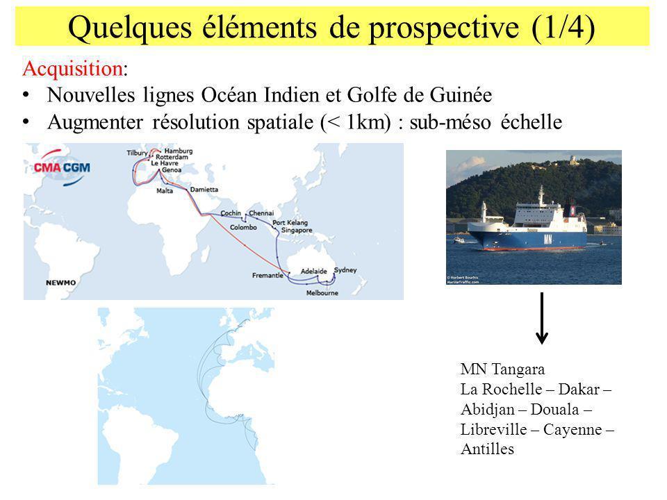 Quelques éléments de prospective (1/4) Acquisition: Nouvelles lignes Océan Indien et Golfe de Guinée Augmenter résolution spatiale (< 1km) : sub-méso