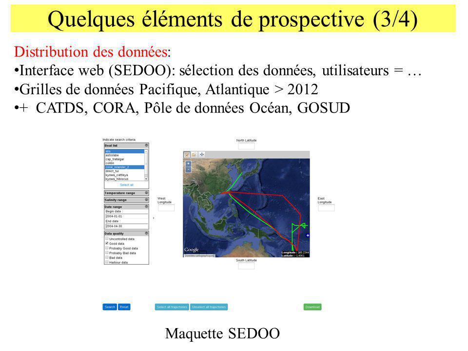 Quelques éléments de prospective (3/4) Distribution des données: Interface web (SEDOO): sélection des données, utilisateurs = … Grilles de données Pac