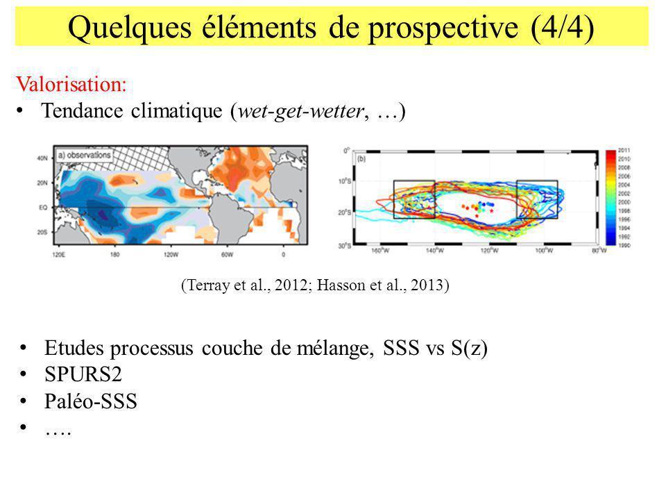 Quelques éléments de prospective (4/4) Valorisation: Tendance climatique (wet-get-wetter, …) Etudes processus couche de mélange, SSS vs S(z) SPURS2 Pa