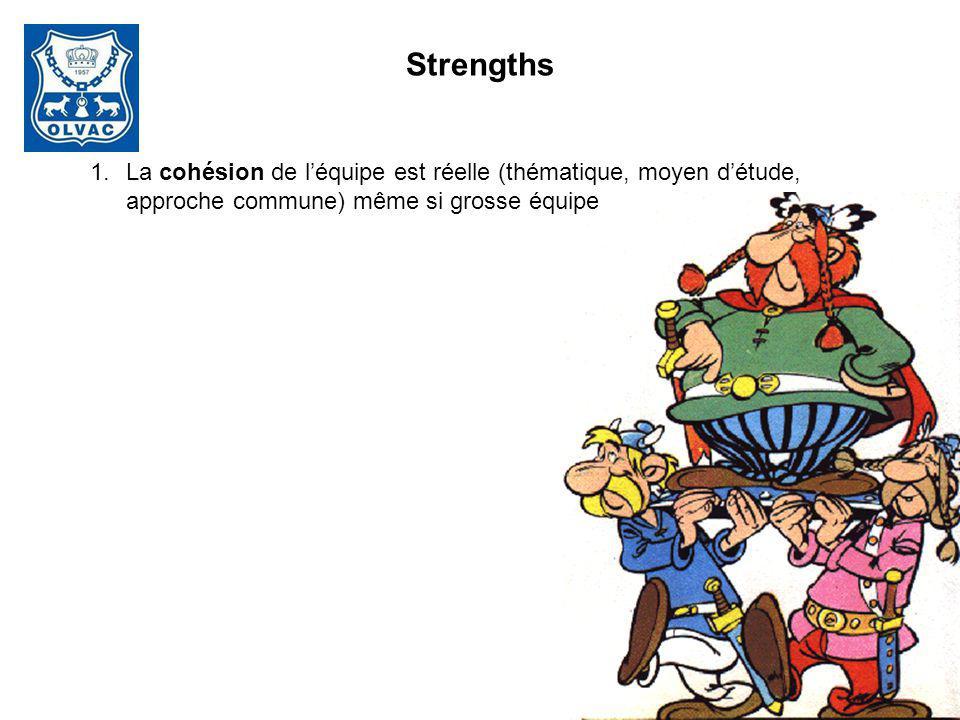 Strengths 1.La cohésion de léquipe est réelle (thématique, moyen détude, approche commune) même si grosse équipe