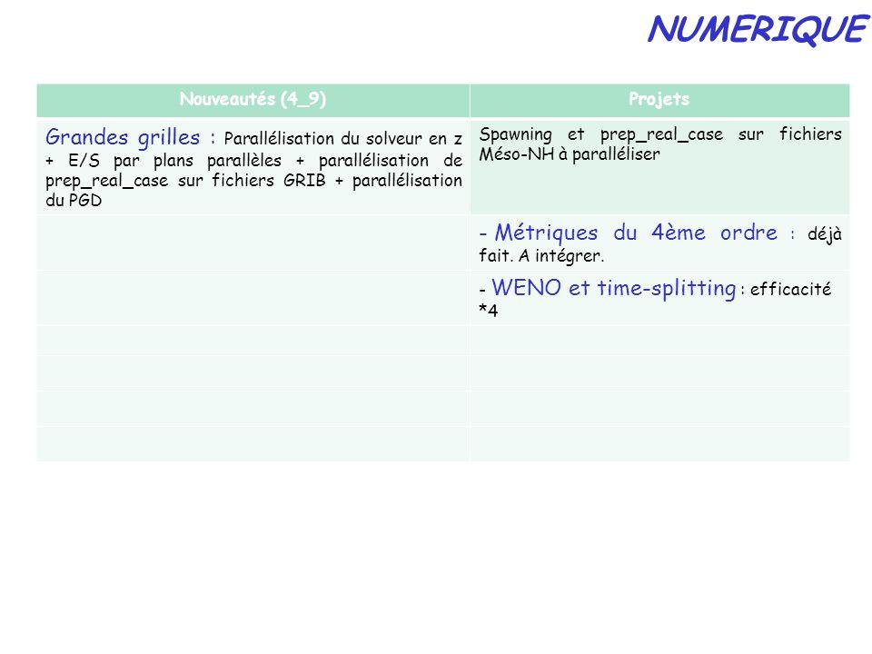 Nouveautés (4_9)Projets Grandes grilles : Parallélisation du solveur en z + E/S par plans parallèles + parallélisation de prep_real_case sur fichiers GRIB + parallélisation du PGD Spawning et prep_real_case sur fichiers Méso-NH à paralléliser - Métriques du 4ème ordre : déjà fait.