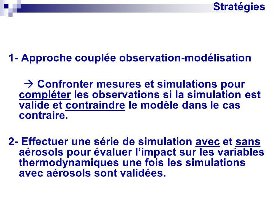 Stratégies 1- Approche couplée observation-modélisation Confronter mesures et simulations pour compléter les observations si la simulation est valide