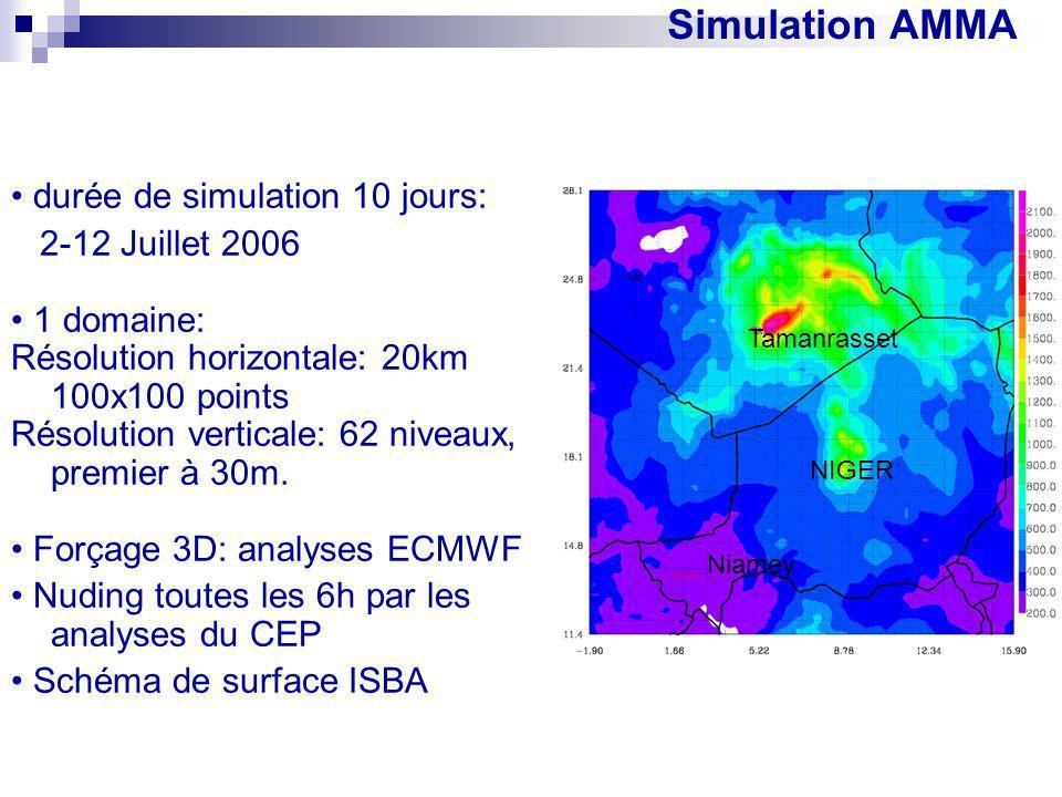 Simulation AMMA durée de simulation 10 jours: 2-12 Juillet 2006 1 domaine: Résolution horizontale: 20km 100x100 points Résolution verticale: 62 niveau
