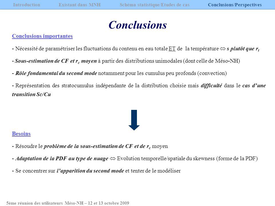 Conclusions Introduction Existant dans MNH Schéma statistique/Etudes de cas Conclusions/Perspectives Conclusions importantes - Nécessité de paramétris