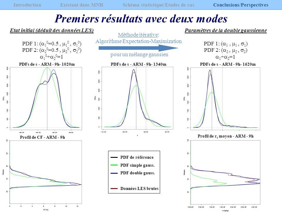 Premiers résultats avec deux modes Introduction Existant dans MNH Schéma statistique/Etudes de cas Conclusions/Perspectives Etat initial (déduit des d