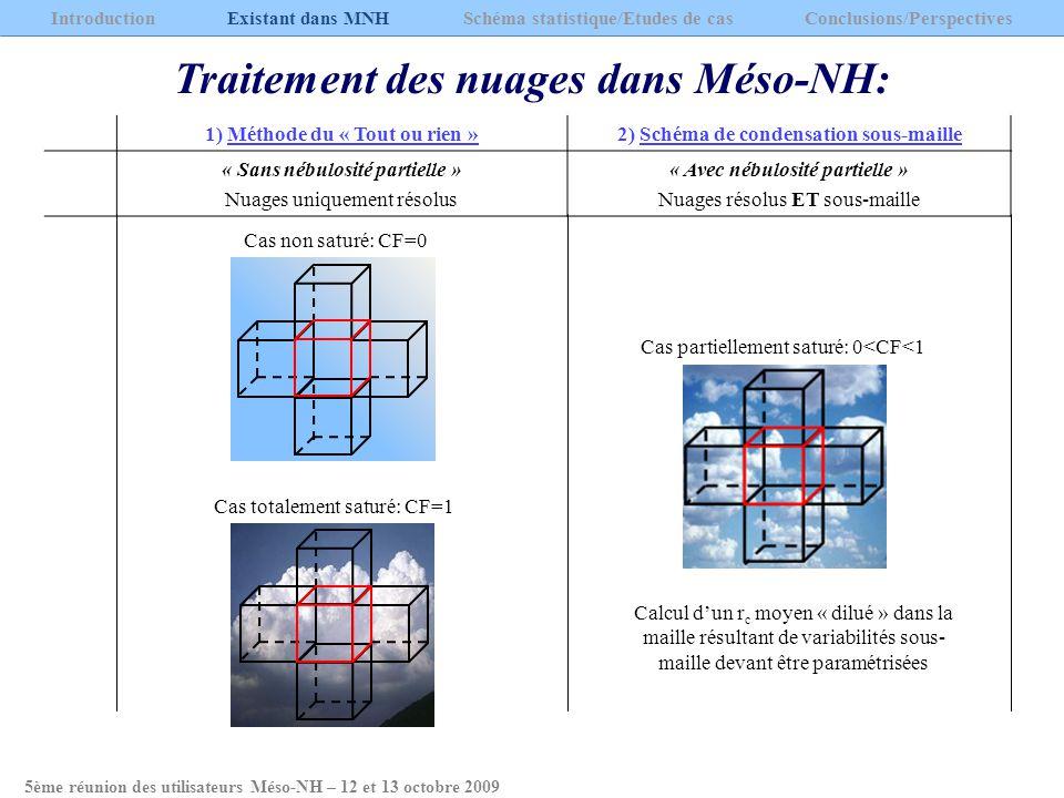 Traitement des nuages dans Méso-NH: 1) Méthode du « Tout ou rien »2) Schéma de condensation sous-maille « Sans nébulosité partielle » Nuages uniquemen