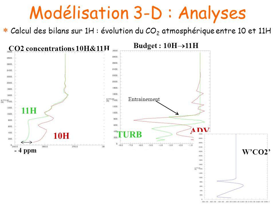 Modélisation 3-D : Analyses 10H 11H CO2 concentrations 10H&11H Budget : 10H 11H ADV TURB Entrainement - 4 ppm WCO2 Calcul des bilans sur 1H : évolution du CO 2 atmosphérique entre 10 et 11H
