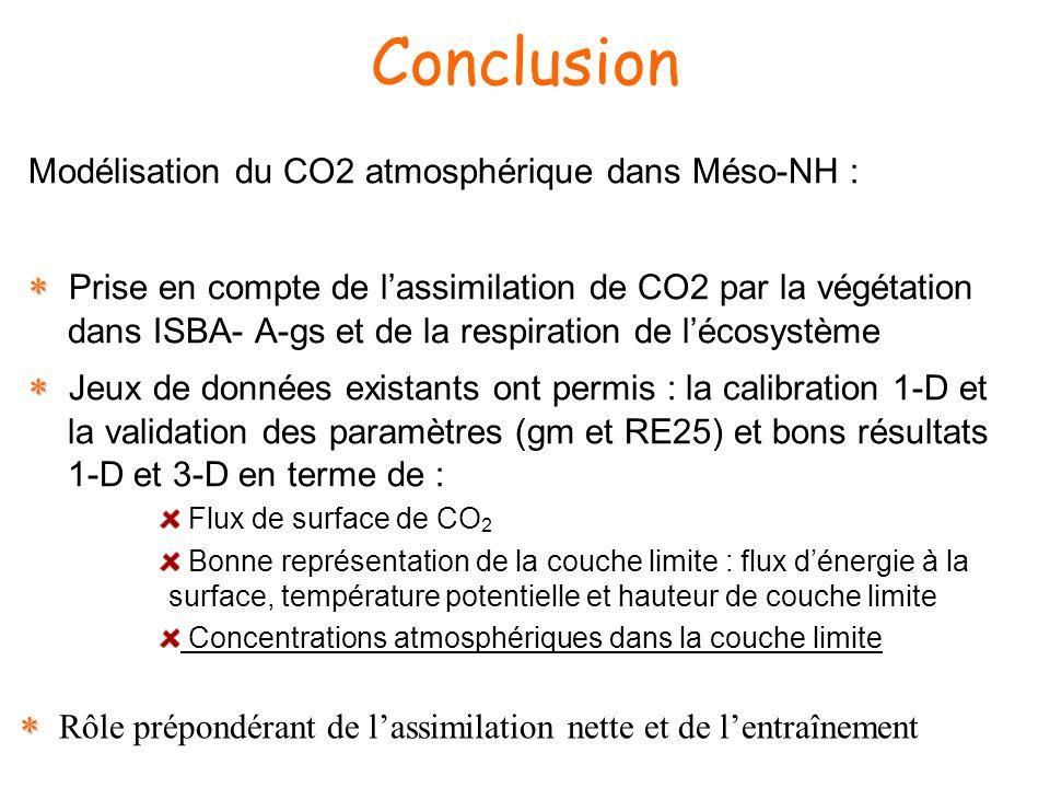 Conclusion Modélisation du CO2 atmosphérique dans Méso-NH : Prise en compte de lassimilation de CO2 par la végétation dans ISBA- A-gs et de la respiration de lécosystème Jeux de données existants ont permis : la calibration 1-D et la validation des paramètres (gm et RE25) et bons résultats 1-D et 3-D en terme de : Flux de surface de CO 2 Bonne représentation de la couche limite : flux dénergie à la surface, température potentielle et hauteur de couche limite Concentrations atmosphériques dans la couche limite Rôle prépondérant de lassimilation nette et de lentraînement