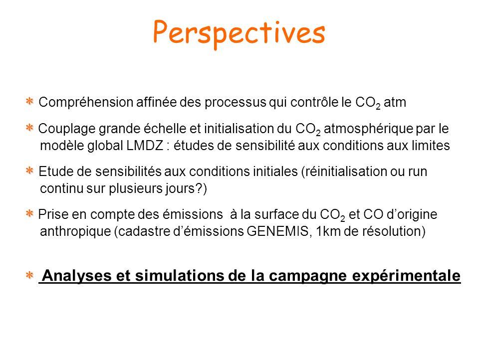 Perspectives Compréhension affinée des processus qui contrôle le CO 2 atm Couplage grande échelle et initialisation du CO 2 atmosphérique par le modèle global LMDZ : études de sensibilité aux conditions aux limites Etude de sensibilités aux conditions initiales (réinitialisation ou run continu sur plusieurs jours ) Prise en compte des émissions à la surface du CO 2 et CO dorigine anthropique (cadastre démissions GENEMIS, 1km de résolution) Analyses et simulations de la campagne expérimentale