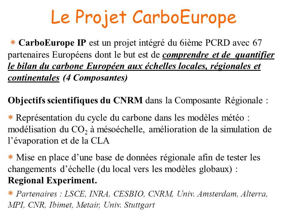 Le Projet CarboEurope CarboEurope IP est un projet intégré du 6ième PCRD avec 67 partenaires Européens dont le but est de comprendre et de quantifier le bilan du carbone Européen aux échelles locales, régionales et continentales (4 Composantes) Objectifs scientifiques du CNRM dans la Composante Régionale : Représentation du cycle du carbone dans les modèles météo : modélisation du CO 2 à mésoéchelle, amélioration de la simulation de lévaporation et de la CLA Mise en place dune base de données régionale afin de tester les changements déchelle (du local vers les modèles globaux) : Regional Experiment.