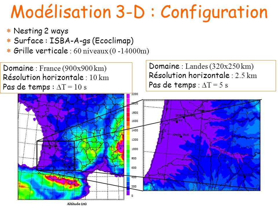 Modélisation 3-D : Configuration Domaine : France (900x900 km) Résolution horizontale : 10 km Pas de temps : T = 10 s Domaine : Landes (320x250 km) Résolution horizontale : 2.5 km Pas de temps : T = 5 s Nesting 2 ways Surface : ISBA-A-gs (Ecoclimap) Grille verticale : 60 niveaux (0 -14000m)