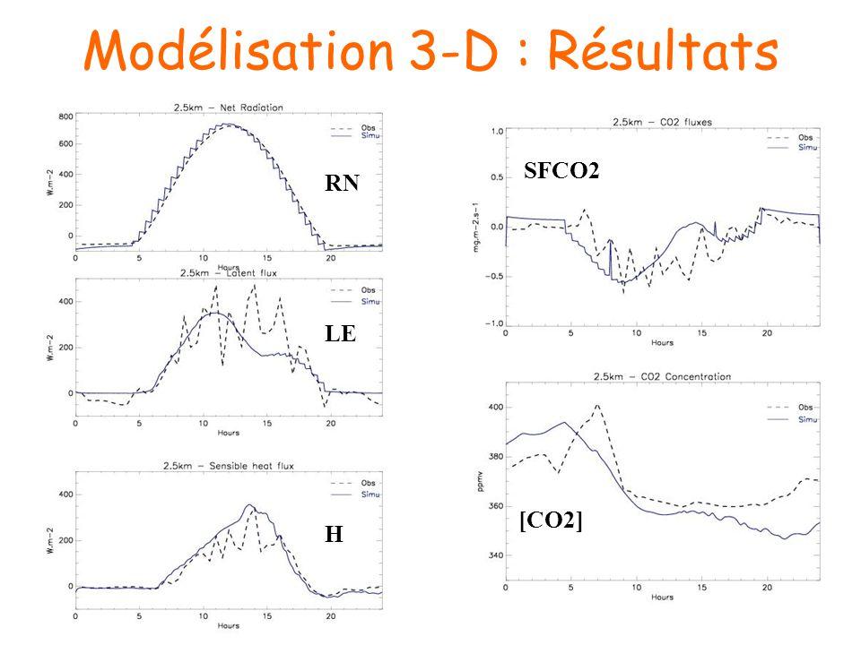 Modélisation 3-D : Résultats RN LE H SFCO2 [CO2]