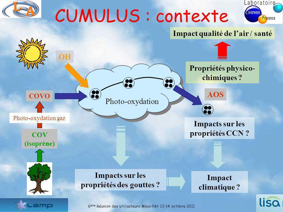 6 ème Réunion des utilisateurs Méso-NH 13-14 octobre 20113 Le projet CUMULUS : organisation Tâche 1 : Études des processus photochimiques en phase aqueuse (A.