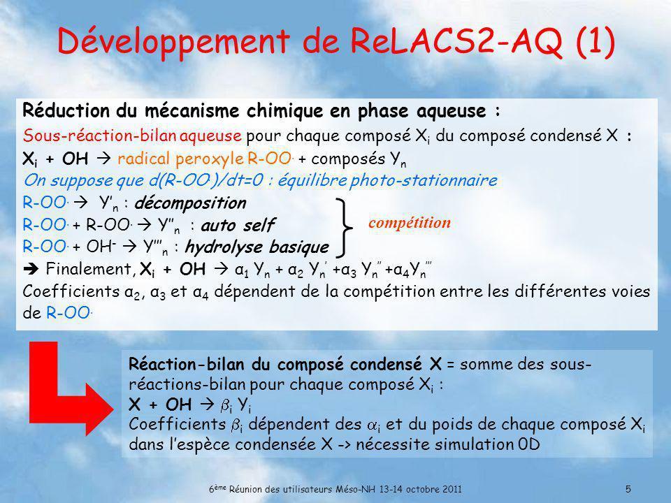 6 ème Réunion des utilisateurs Méso-NH 13-14 octobre 20115 Développement de ReLACS2-AQ (1) Réduction du mécanisme chimique en phase aqueuse : Sous-réaction-bilan aqueuse pour chaque composé X i du composé condensé X : X i + OH radical peroxyle R-OO.