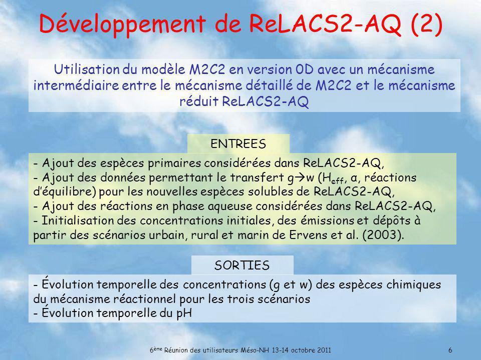 6 ème Réunion des utilisateurs Méso-NH 13-14 octobre 20116 Développement de ReLACS2-AQ (2) - Ajout des espèces primaires considérées dans ReLACS2-AQ, - Ajout des données permettant le transfert g w (H eff, α, réactions déquilibre) pour les nouvelles espèces solubles de ReLACS2-AQ, - Ajout des réactions en phase aqueuse considérées dans ReLACS2-AQ, - Initialisation des concentrations initiales, des émissions et dépôts à partir des scénarios urbain, rural et marin de Ervens et al.