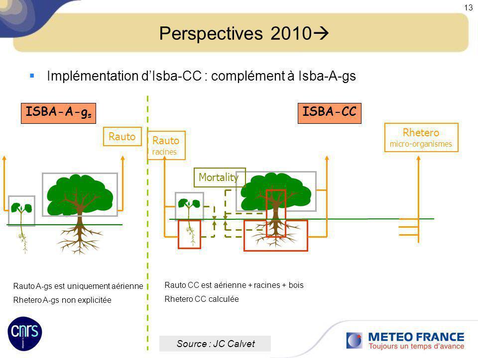 Réunion des utilisateurs de Méso-NH 12-13 Octobre 2009 13 Perspectives 2010 Implémentation dIsba-CC : complément à Isba-A-gs ISBA-CC Source : JC Calve